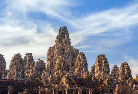historic site: Ancient Khmer architecture. Bayon temple at Angkor Wat, Siem Reap, Cambodia Stock Photo