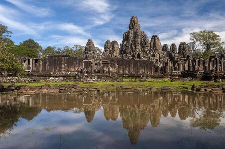 siem reap: Ancient Khmer architecture. Bayon temple at Angkor Wat, Siem Reap, Cambodia Stock Photo