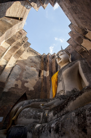 chum: the big Buddha, in Sri Chum temple, the Sukhothai Historic Park, Thailand Stock Photo