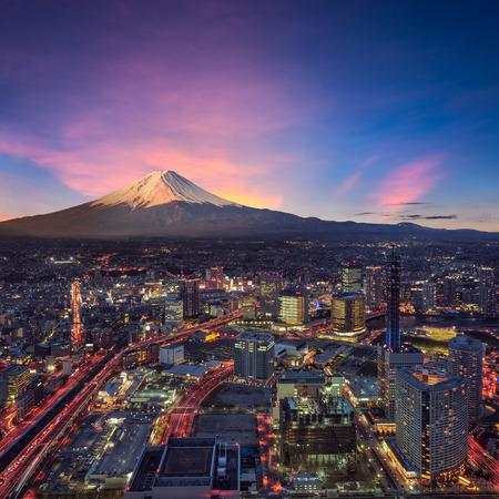 Tokyo: Surreal view of Yokohama city and Mt. Fuji Editorial