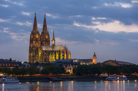 dom: Cologne, Germany over the Rhine River. Stock Photo