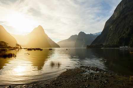 landscape nature: landscape of high mountain glacier at milford sound, New Zealand Stock Photo