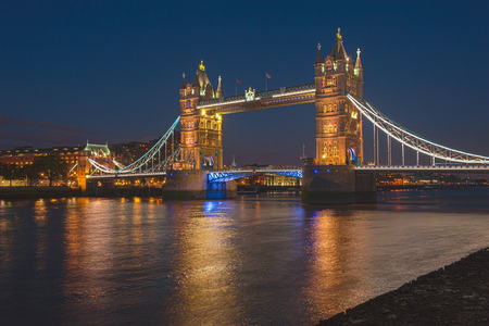 towers: London tower bridge at night time Stock Photo