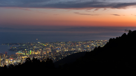 night views: Kobe cityscape at night time Stock Photo