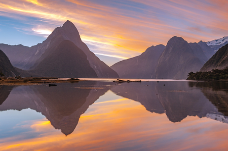 landscape of high mountain glacier at milford sound, New Zealand Stok Fotoğraf