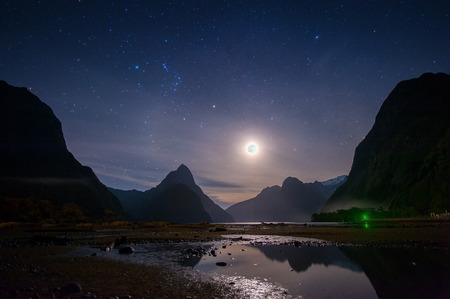 Milford sound at night with startrail, New Sealand Stok Fotoğraf