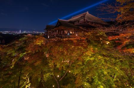 dera: light up laser show at kiyomizu dera temple , Kyoto , Japan
