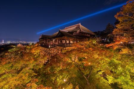 dera: ight up laser show at kiyomizu dera temple , Kyoto , Japan