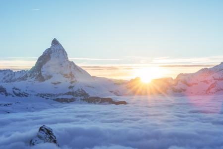 Matterhorn peak, Zermatt, Switzerland. Stock Photo