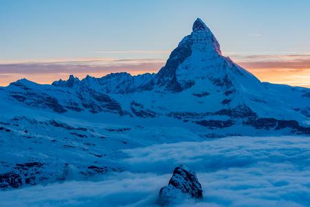 mountain sunset: Matterhorn peak, Zermatt, Switzerland. Stock Photo