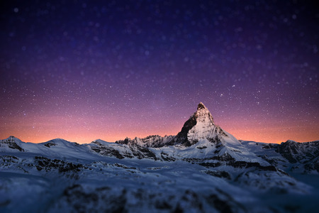 star night: Matterhorn peak, Zermatt, Switzerland. Stock Photo