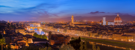 michelangelo: View of Florence after sunset from Piazzale Michelangelo, Florence, Italy