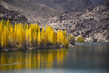 Autumn at upper lake Valley. Northern Area Pakistan 写真素材