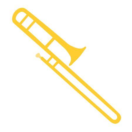 Cuivres, trombone. Illustration d'un trombone isolé sur fond blanc. Disposition de conception pour les présentations de bannières, les dépliants, les affiches et les invitations. Instruments de musique de design plat moderne de vecteur.