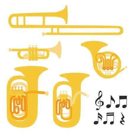 Satz Musikinstrumente des modernen flachen Designs des Vektors. Blechblasinstrumente, Trompete, Waldhorn, Posaune, Euphonium und Tuba. Illustration von isolierten Musikinstrumenten auf weißem Hintergrund.
