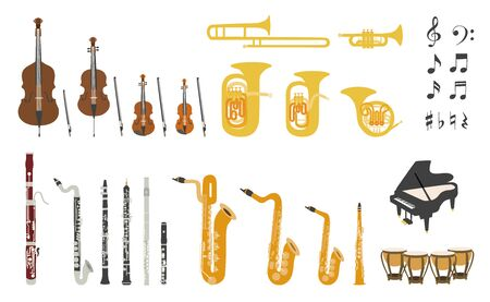 Set di strumenti musicali moderni design piatto vettoriale. Un gruppo di strumenti d'orchestra. Illustrazioni piatte di strumenti musicali isolati su sfondo bianco.