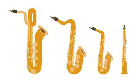 Set di strumenti musicali moderni design piatto vettoriale. Strumenti musicali a fiato, sassofoni. Illustrazione di strumenti musicali isolati su sfondo bianco.