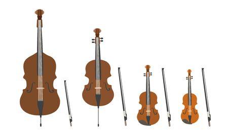 Set di strumenti musicali moderni design piatto vettoriale. Strumenti musicali a corda, violino, viola, violoncello e contrabbasso. Illustrazione di strumenti musicali isolati su sfondo bianco.