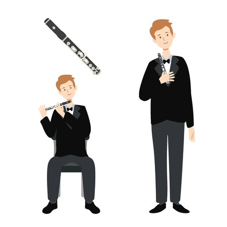 A flat illustration of isolated a caucasian man player on white background. Vector illustration.