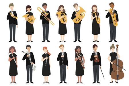 Set of vector modern flat design musicians. A group of people holding a musical instrument. Vector. Ilustrace