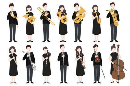 Satz moderne flache Designmusiker des Vektors. Eine Gruppe von Menschen, die ein Musikinstrument halten. Vektor.