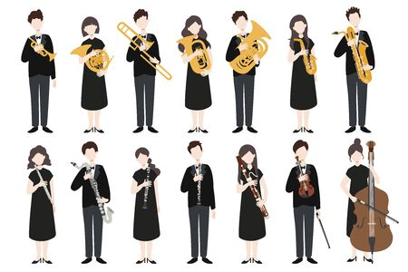 Set di musicisti di design piatto moderno vettoriale. Un gruppo di persone in possesso di uno strumento musicale. Vettore.