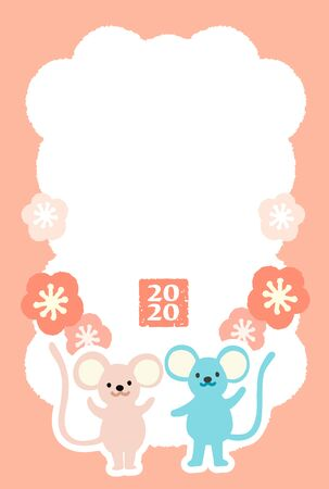 A new year card with illustrations of mouses for the year 2020.  A mouse is the oriental zodiac of 2020.