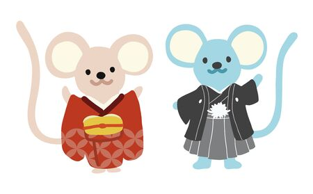 Illustration of mouses wearing Japanese national costume. Animal flat illustration. Vector.