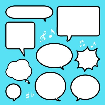 Set of blank empty white speech bubbles and dialog balloons on colorful background. Flat design icons.