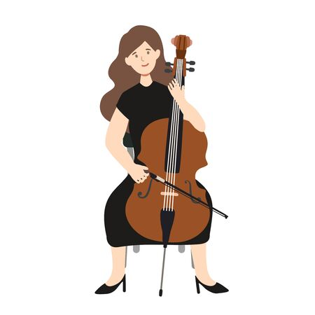 A flat illustration of caucasian woman player isolated on white background. Vector illustration. 일러스트