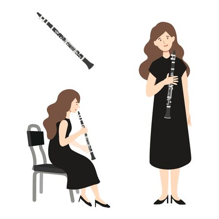 A flat illustration of caucasian woman player isolated on white background. Vector illustration. Ilustração