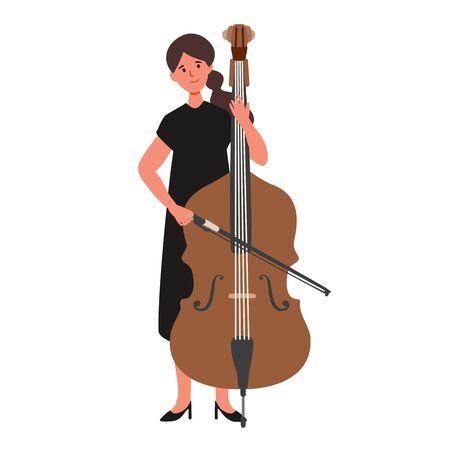 A flat illustration of asian woman player isolated on white background. Vector illustration. Ilustração
