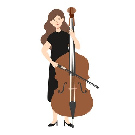 A flat illustration of caucasian woman player isolated on white background. Vector illustration.  イラスト・ベクター素材