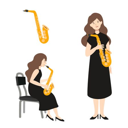 A flat illustration of caucasian woman player isolated on white background. Vector illustration.