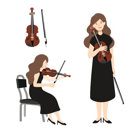 A flat illustration of caucasian woman player isolated on white background. Vector illustration. Ilustrace
