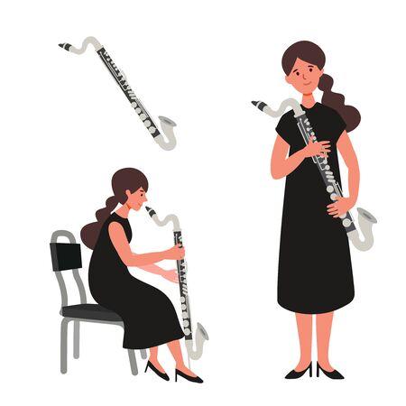 Un'illustrazione piatta del giocatore donna isolato su sfondo bianco. Illustrazione vettoriale.