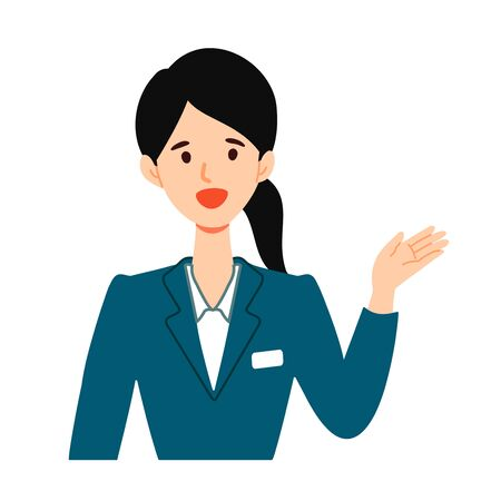 Illustration of a young woman guiding information by pointing.