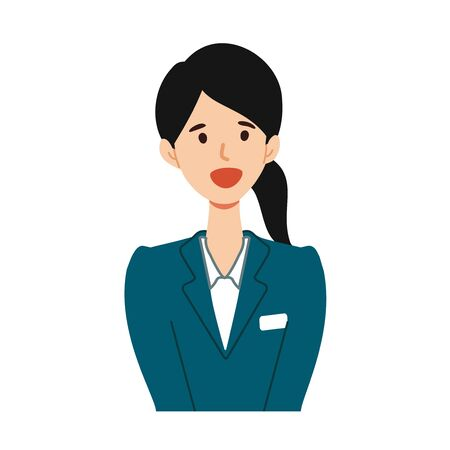 Illustration of young guide woman smiling at the bust up angle.