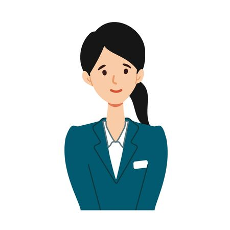 Illustration of young guide woman smiling at the bust up angle. Vector Illustratie