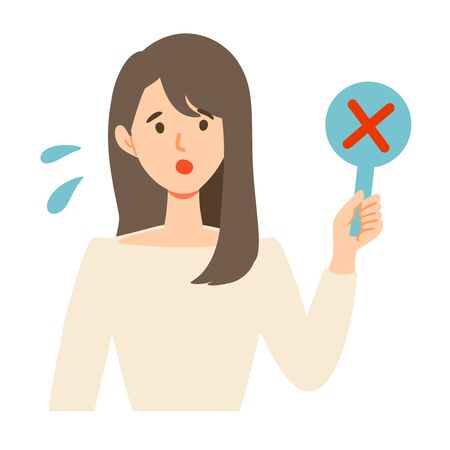 "Illustration of young woman holding tags such as ""Wrong""."
