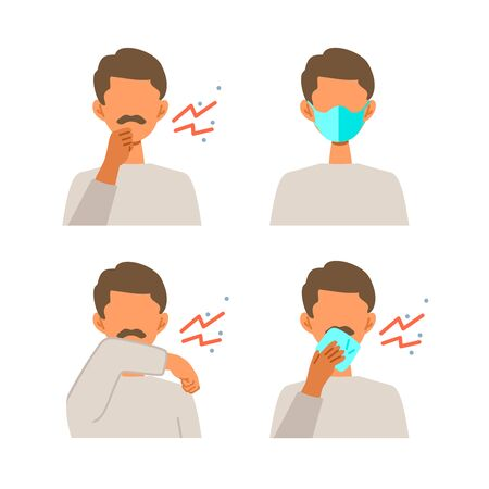 Vector illustration of muslim man infected with the virus. Set of illustrations for the topic of coronavirus, flu and cold.