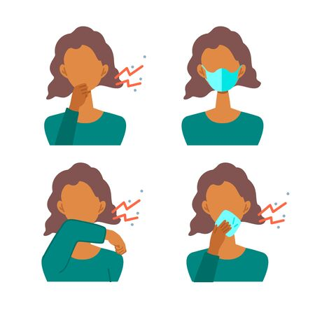 Vector illustration of black woman infected with the virus. Set of illustrations for the topic of coronavirus, flu and cold.
