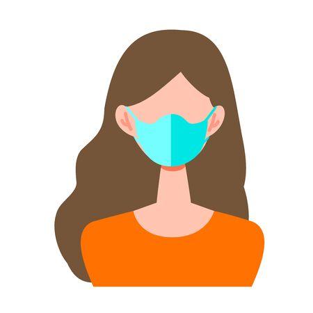矢量插图的女人戴着一个外科口罩。以冠状病毒、流感和感冒为主题的插图。