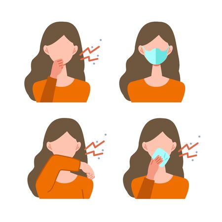 Vector illustration of woman infected with the virus. Set of illustrations for the topic of coronavirus, flu and cold.