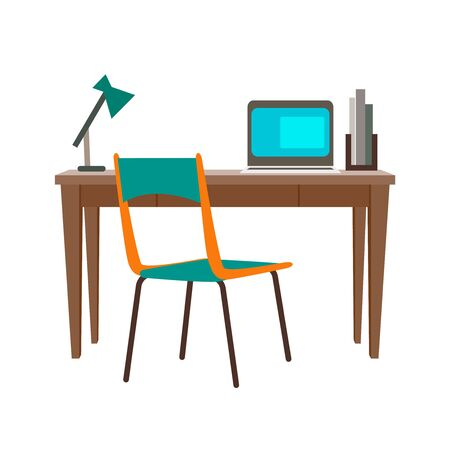Stay at home concept. Vector illustration the home office. Freelance or studying concept. Concept for any telework illustration, freelance workers, workers at home.Flat design vector illustration of modern interior. Stock fotó - 146832262