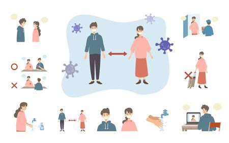 Vector illustration of people combating the coronavirus. New norms for prevent the spread of COVID-19. Illustration