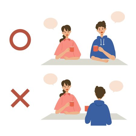 Vector illustration of people combating the coronavirus. New norms for prevent the spread of COVID-19. People sit side-by-side and avoid crowded, confined spaces. Çizim