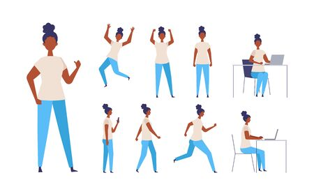 Set of black woman in different poses. Businesswoman working character design set. Vector illustration in flat style. 일러스트