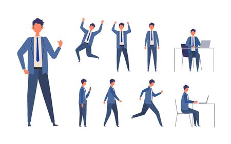 Set of man in different poses. Businessman working character design set. Vector illustration in flat style.
