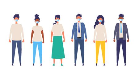Vector flat illustration of people wearing a surgical mask. The illustration for the topic of coronavirus, flu and cold. Vector illustration in flat style. Standard-Bild - 147773612